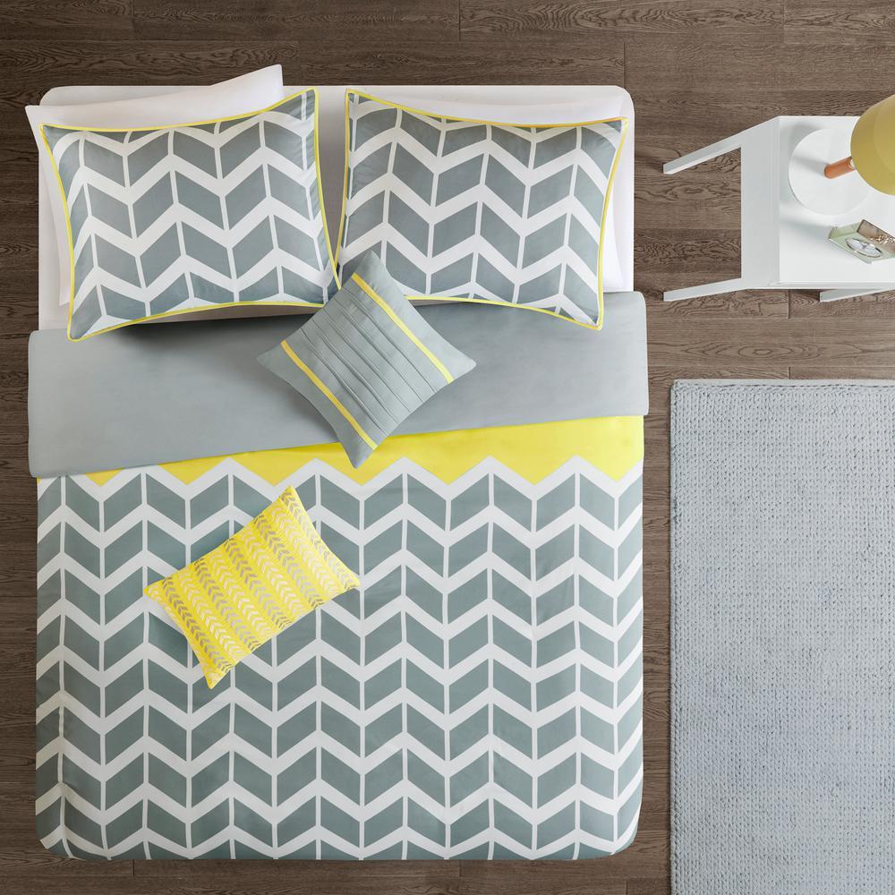 Laila 5-Piece Yellow King/California King Geometric Duvet Cover Set