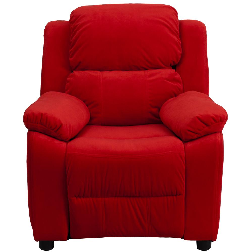 FLASH Deluxe Padded Contemporary Red Microfiber Kids Recl...