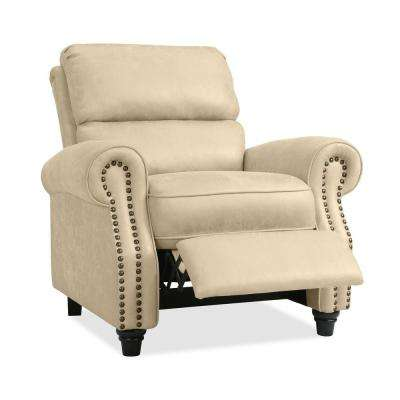 ProLounger Push Back Recliner Chair in Latte Tan Distressed Faux Leather