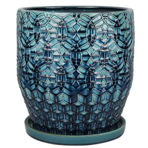 Trendspot 12 in. Dia Ceramic Rivage Planter with Attached Saucer, Dark Blue