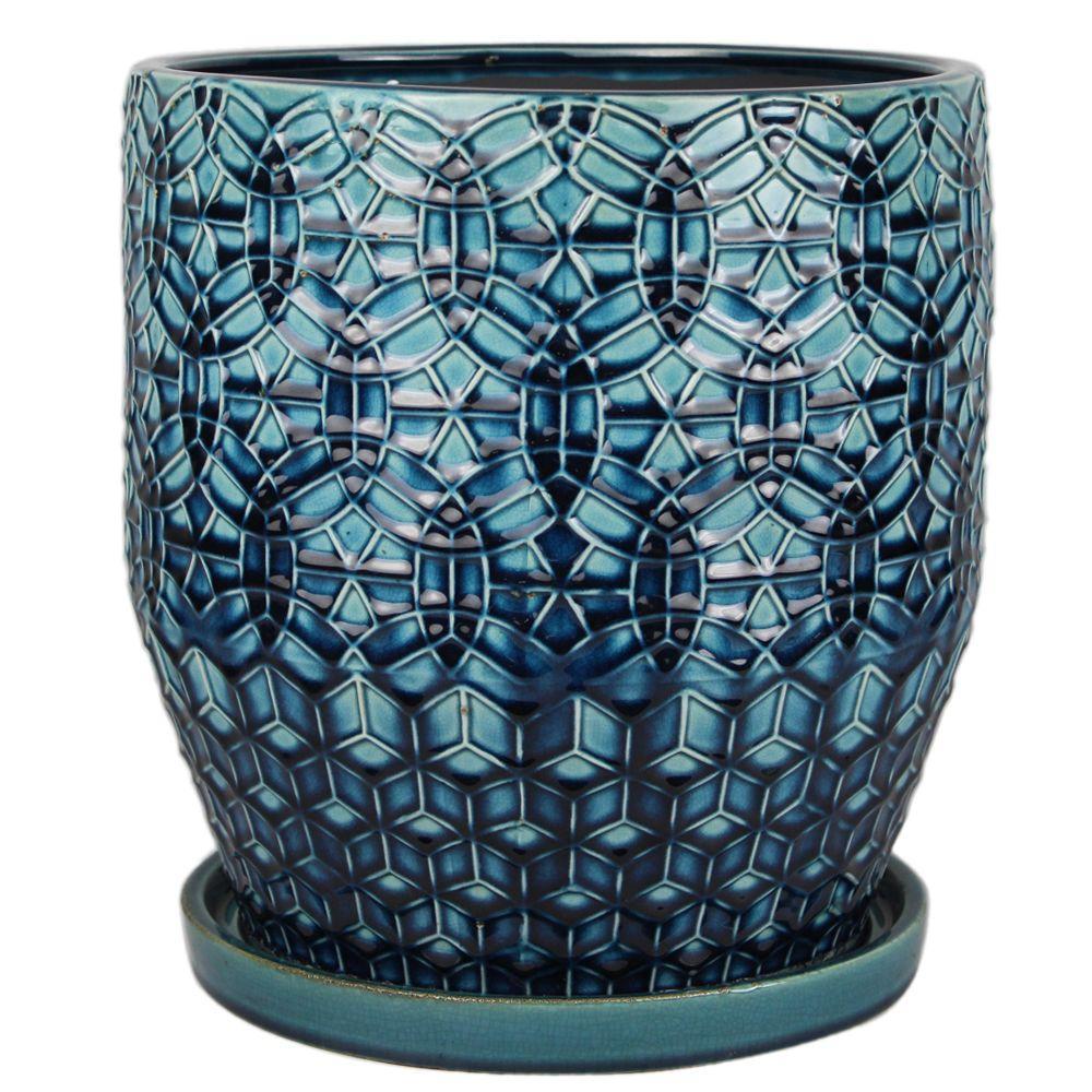 Trendspot 12 in. Dia Ceramic Rivage Planter with Attached Saucer, Dark Blue