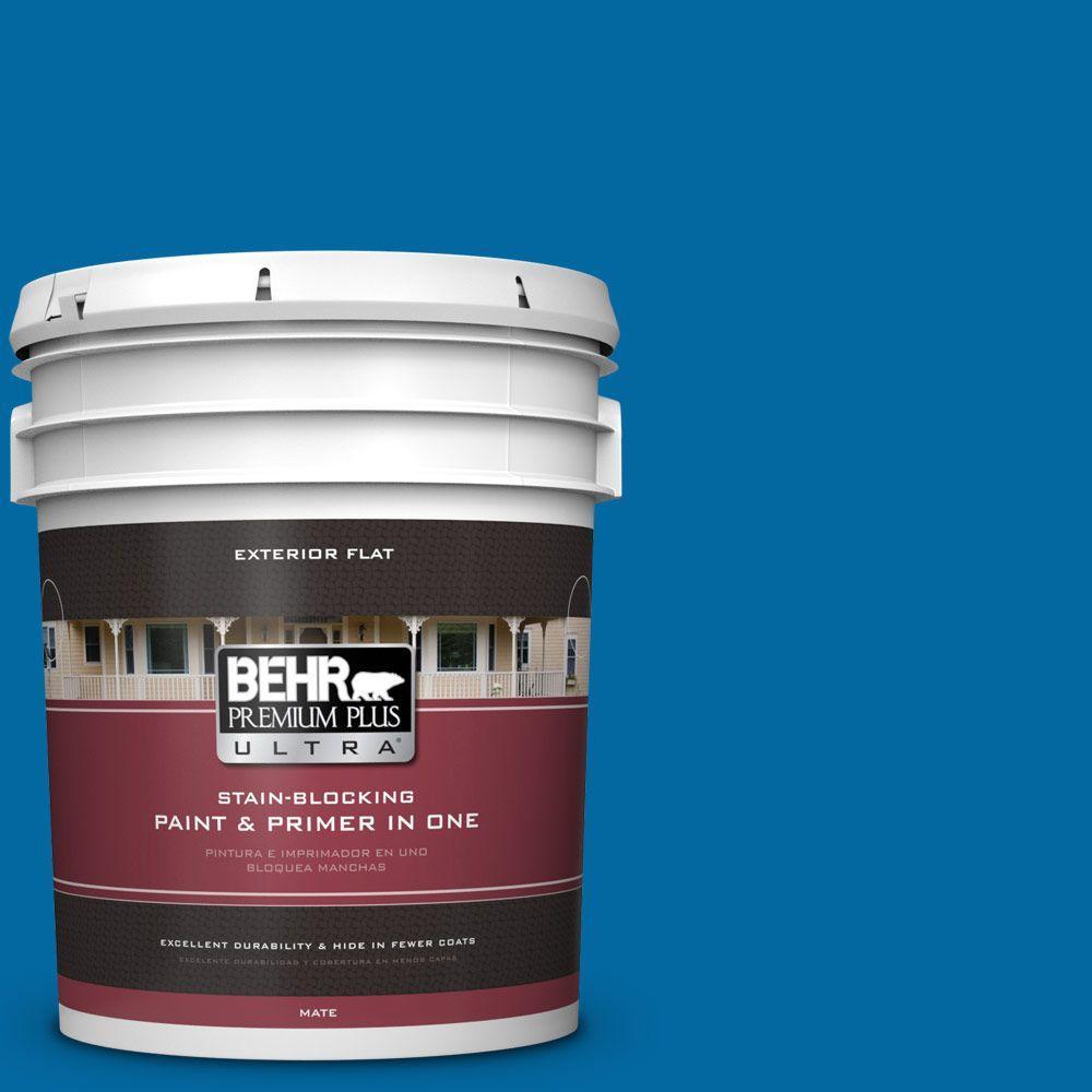 BEHR Premium Plus Ultra 5-gal. #S-G-560 Jazz Blue Flat Exterior Paint