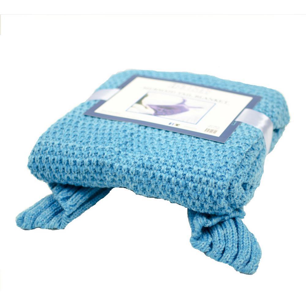 Blue Knit Crochet Mermaid Tail Sleeping Blanket