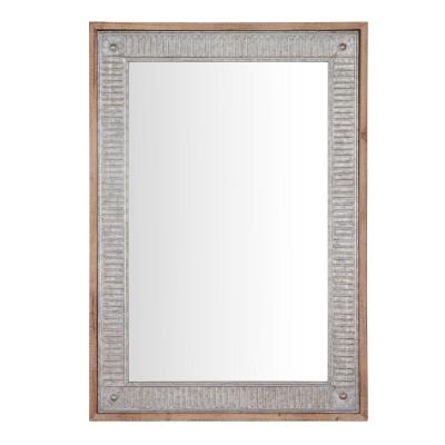 Medium Rectangle Galvanized Antiqued Farmhouse Accent Mirror (39 in. H x 27 in. W)