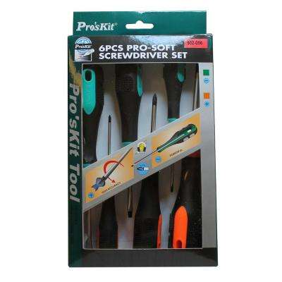 Pro-Soft Phillips and Flat Screwdriver Set (6-Piece)