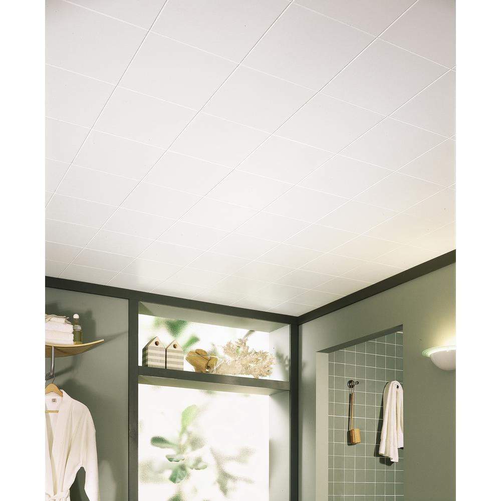 Armstrong Washable White 12 In X 12 In X 1 2 In Ceiling Tiles 40 Pack
