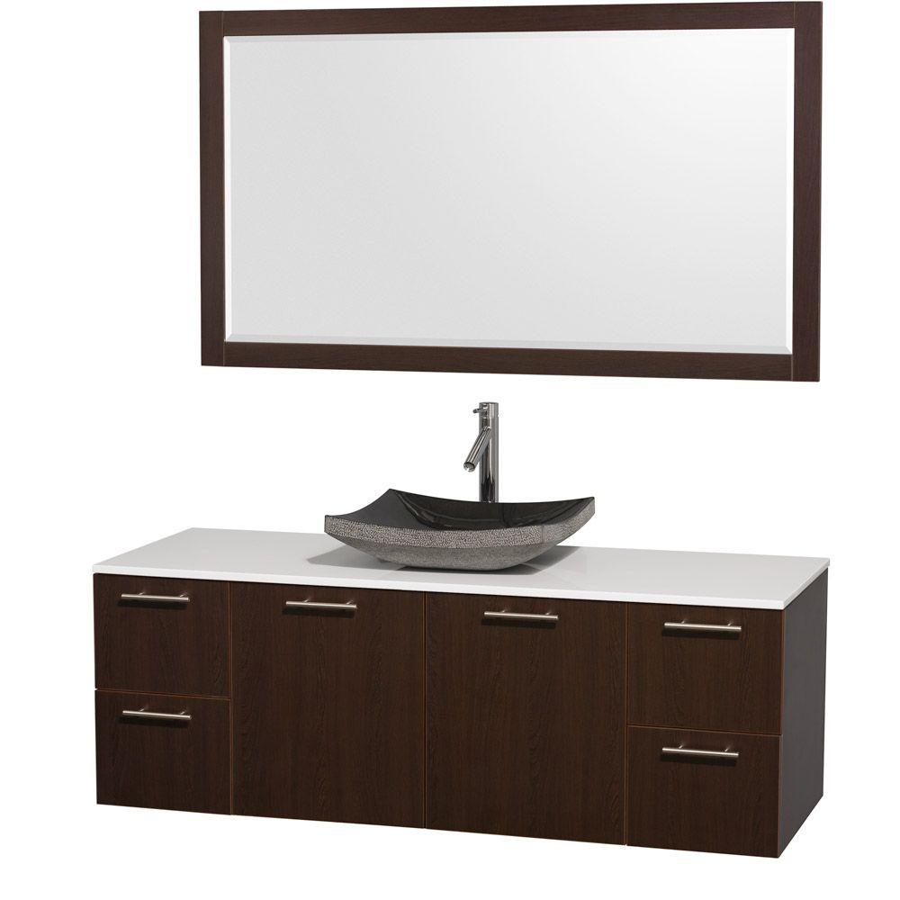 Amare 60 in. Vanity in Espresso with Man-Made Stone Vanity Top