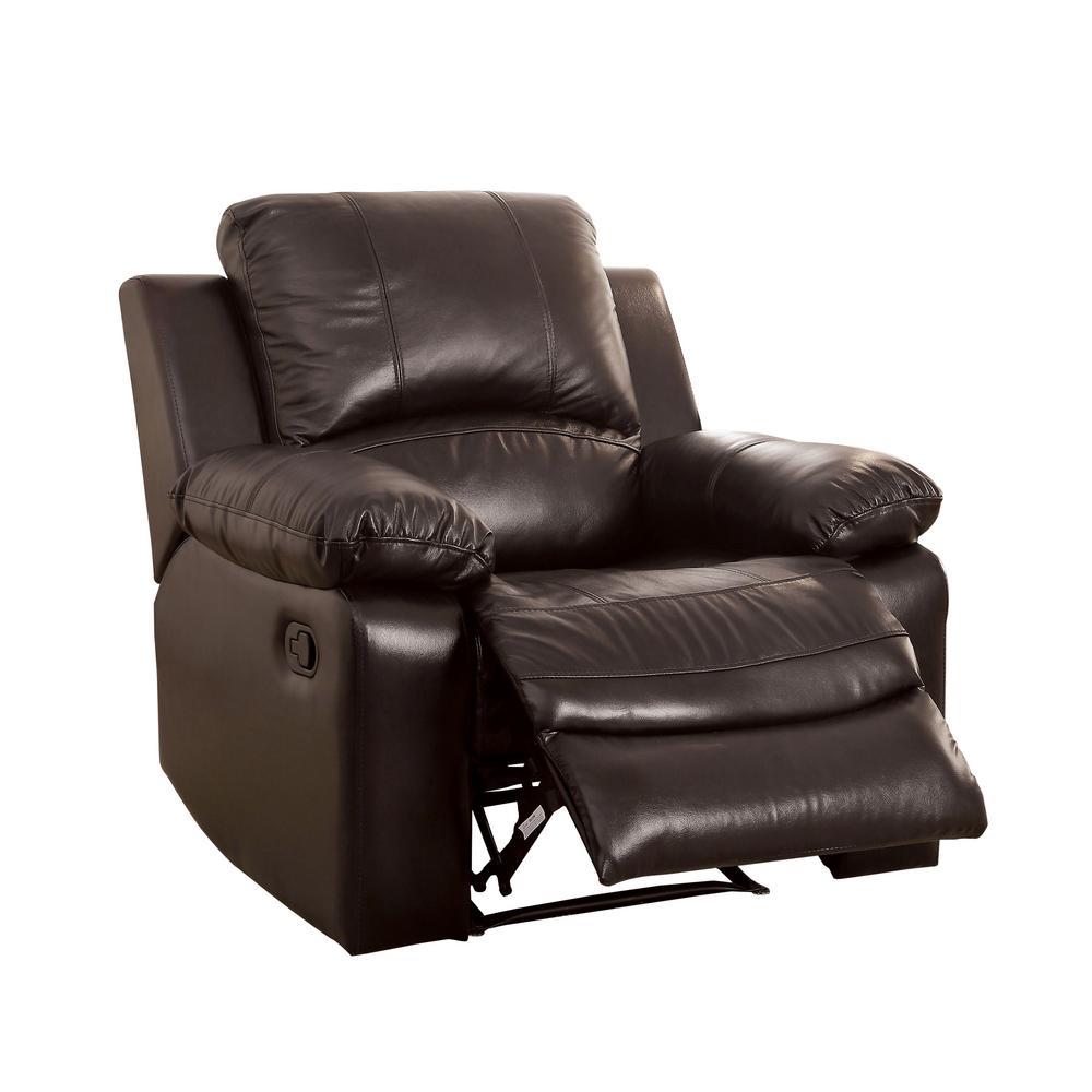 Furniture Of America Rustic Dark Brown Top Grain Leather Match Recliner