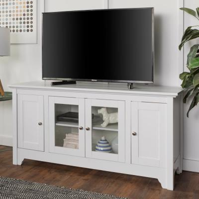 52 in. White Wood TV Media Stand Storage Console
