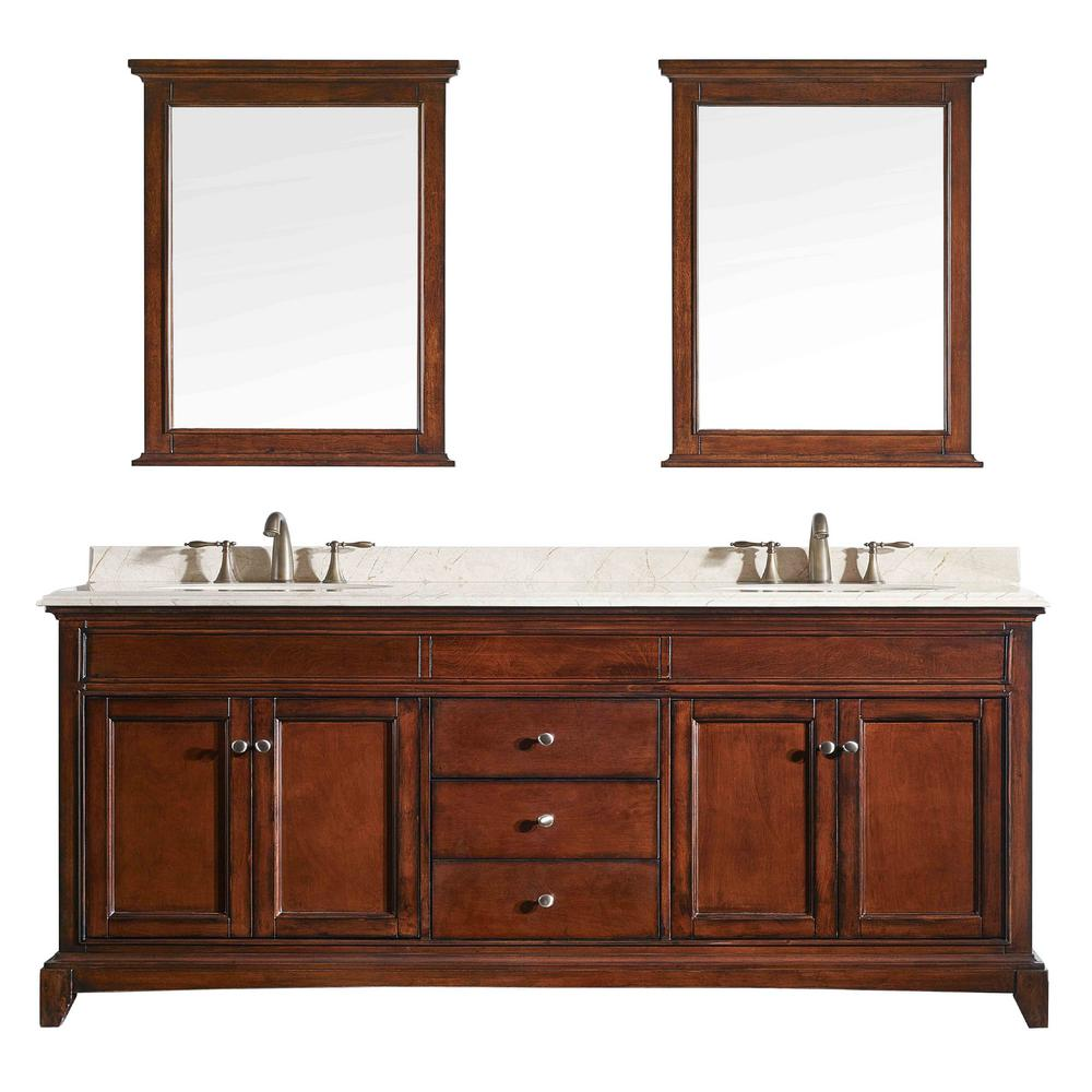 Eviva Stamford Vanity Brown Teak Marble Top White Basin