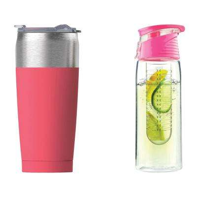 Pink 20 oz. Pure Flavor 2 Go Water Bottle and Peach 20 oz. Tied Tumbler Set