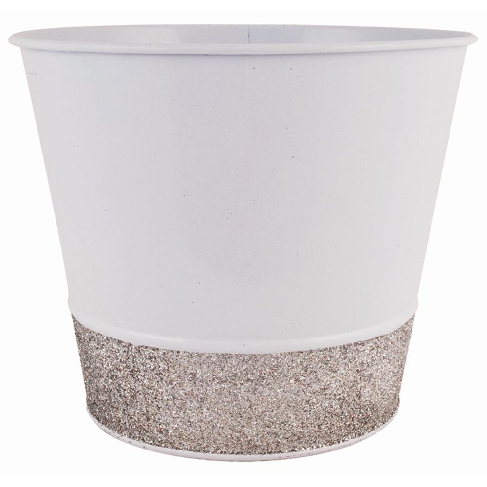 Glitter 7 in. Dia. Snow White Tin Pot