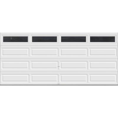 Classic Collection 16 ft. x 7 ft. 18.4 R-Value Intellicore Insulated White Garage Door with Plain Windows