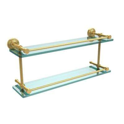 Waverly Place 22 in. L x 8 in. H x 5 in. W 2-Tier Clear Glass Bathroom Shelf with Gallery Rail in Polished Brass