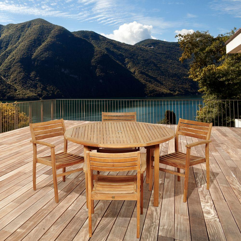 amazonia criss 5 piece teak round patio dining set sc malrnd 4ninia the home depot. Black Bedroom Furniture Sets. Home Design Ideas