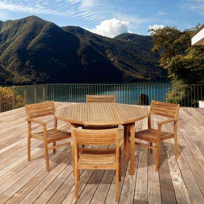 Criss 5-Piece Teak Round Patio Dining Set