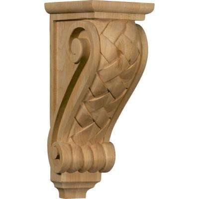 7 in. x 5 in. x 14 in. Unfinished Wood Cherry Large Basket Weave Corbel