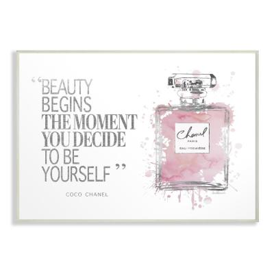 "12.5 in. x 18.5 in. ""Beauty Begins Fashion Perfume"" by Amanda Greenwood Printed Wood Wall Art"