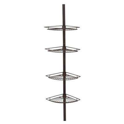Tub and Shower Tension Pole Caddy with 4 Shelf in Oil Rubbed Bronze