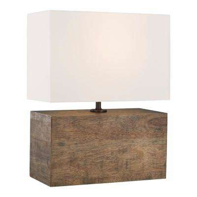 ED Ellen DeGeneres Crafted by Generation Lighting Redmond 19.75 in. Weathered Oak Wood Table Lamp with White Linen Shade