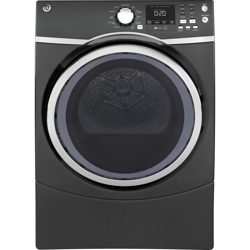 GE 7.5 cu. ft. Capacity Front Load Electric Dryer with Steam in Gray