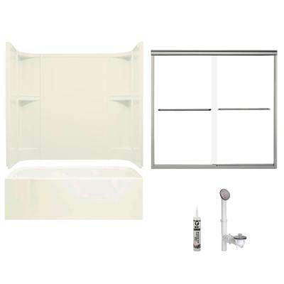 Accord 30 in. x 60 in. x 72 in. Bath and Shower Kit with Left-Hand Drain in Biscuit and Brushed Nickel