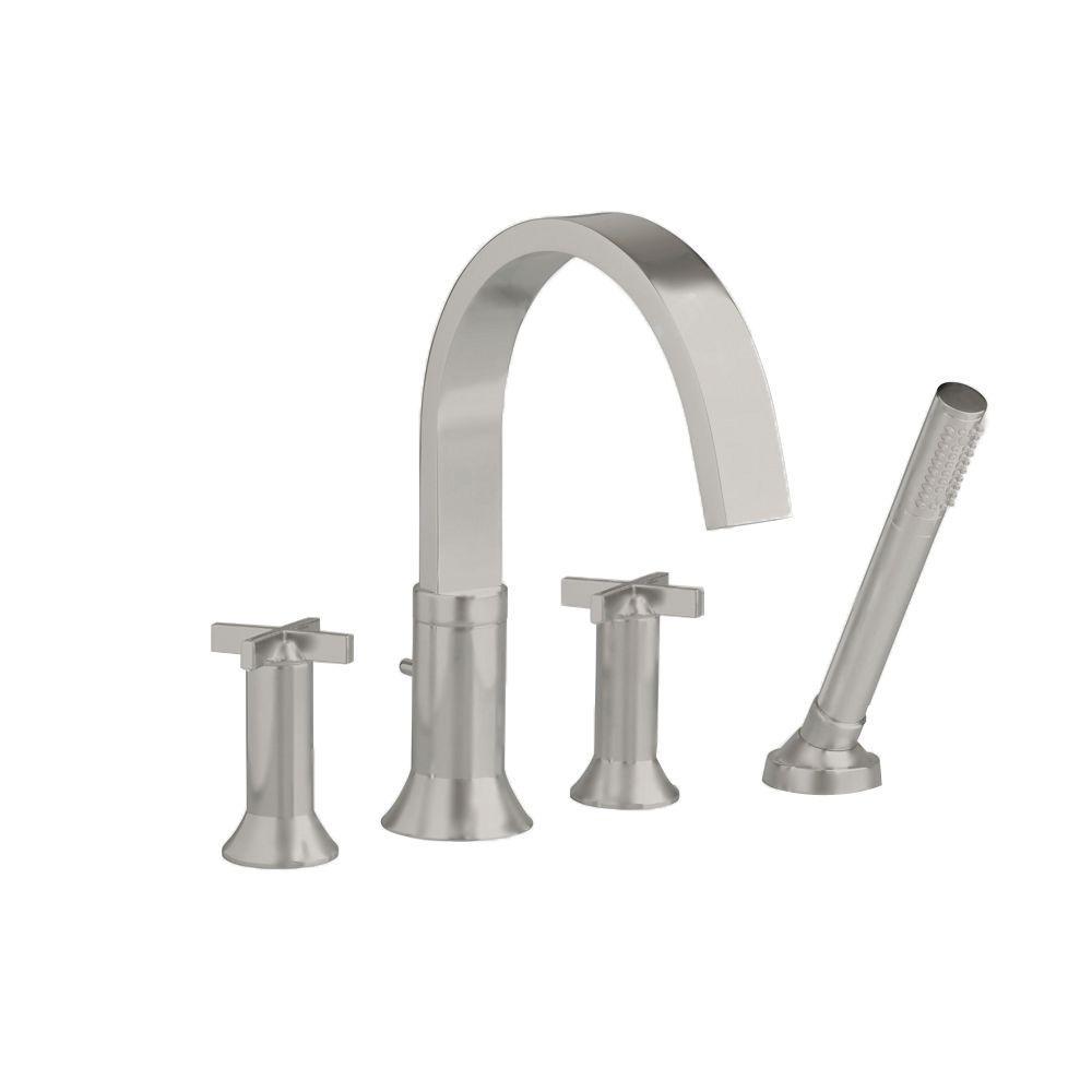 Berwick Cross 2 Handle Deck Mount Roman Tub Faucet With Hand Shower In