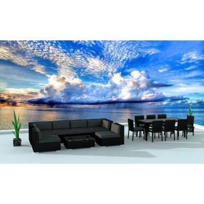 Black Series 16-Piece Wicker Outdoor Sectional Seating Set with Gray Cushions