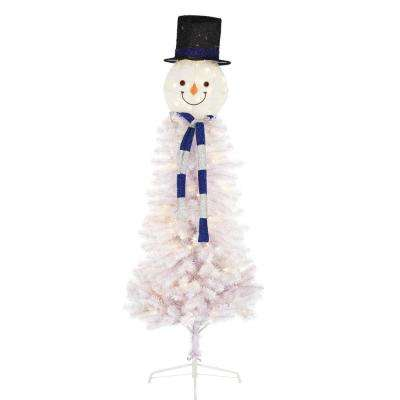 6.5 ft. Pre-Lit Snowman Head Artificial Christmas Tree with 140 LED Lights