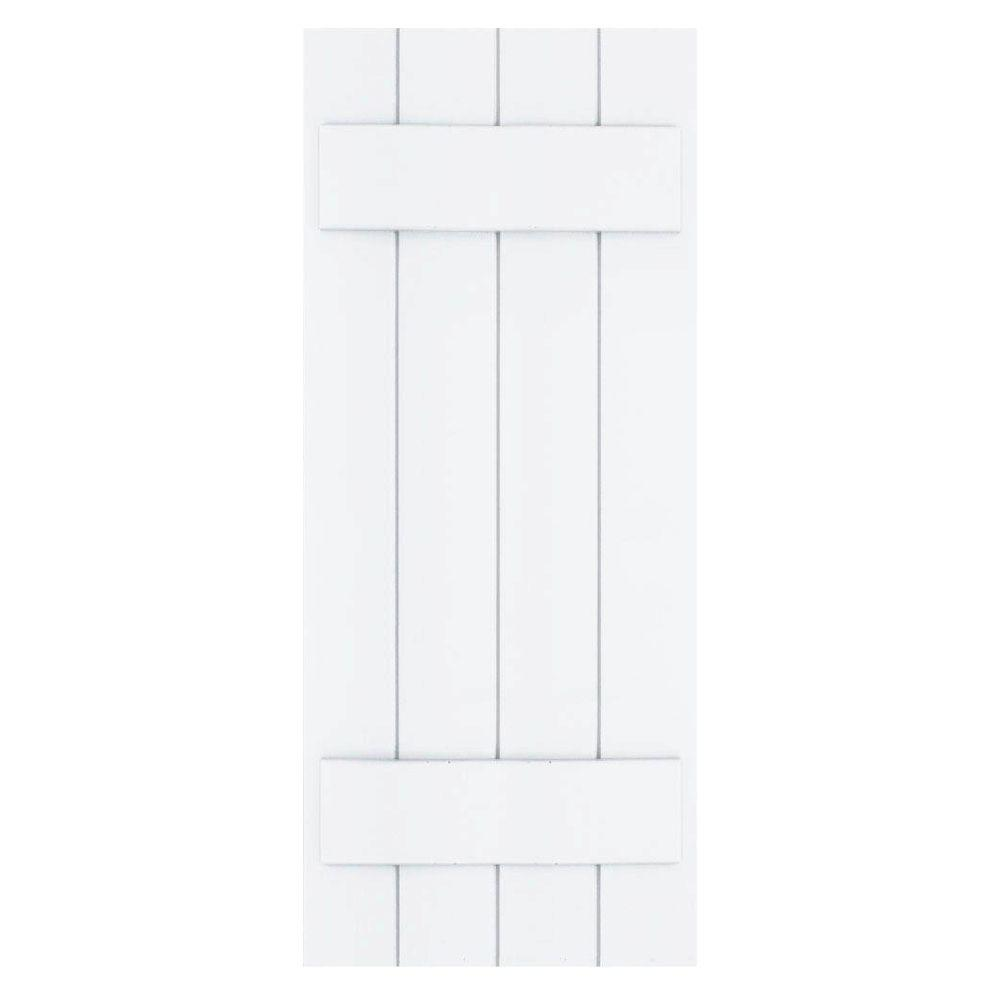 Winworks Wood Composite 15 in. x 37 in. Board & Batten Shutters Pair #631 White