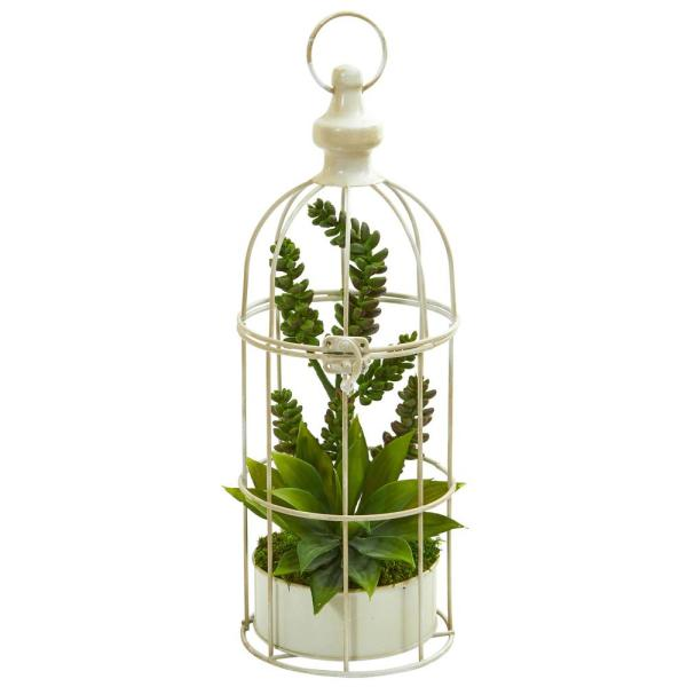 Nearly Natural Indoor Succulent Garden Artificial Plant in Birdcage 8260
