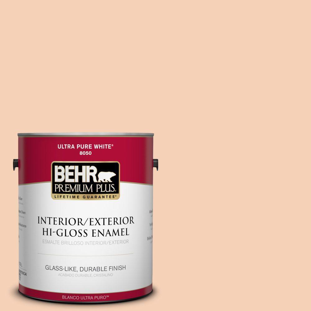 BEHR Premium Plus 1-gal. #280C-2 Serene Peach Hi-Gloss Enamel Interior/Exterior Paint