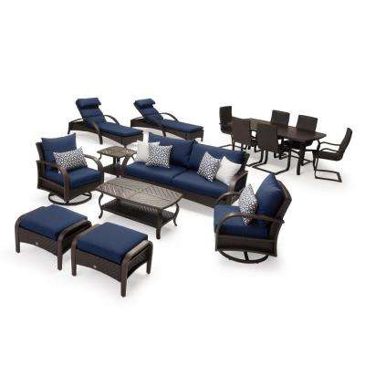 Barcelo Estate 16-Piece Wicker Patio Conversation Set with Sunbrella Navy Blue Cushions