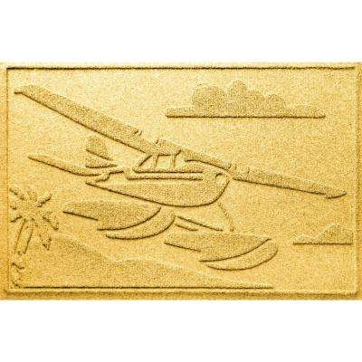 Yellow 24 in. x 36 in. Sea Plane Polypropylene Door Mat