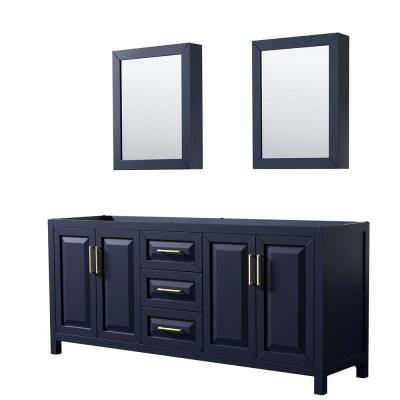 Daria 78.75 in. Double Bathroom Vanity Cabinet Only with Medicine Cabinet Mirrors in Dark Blue