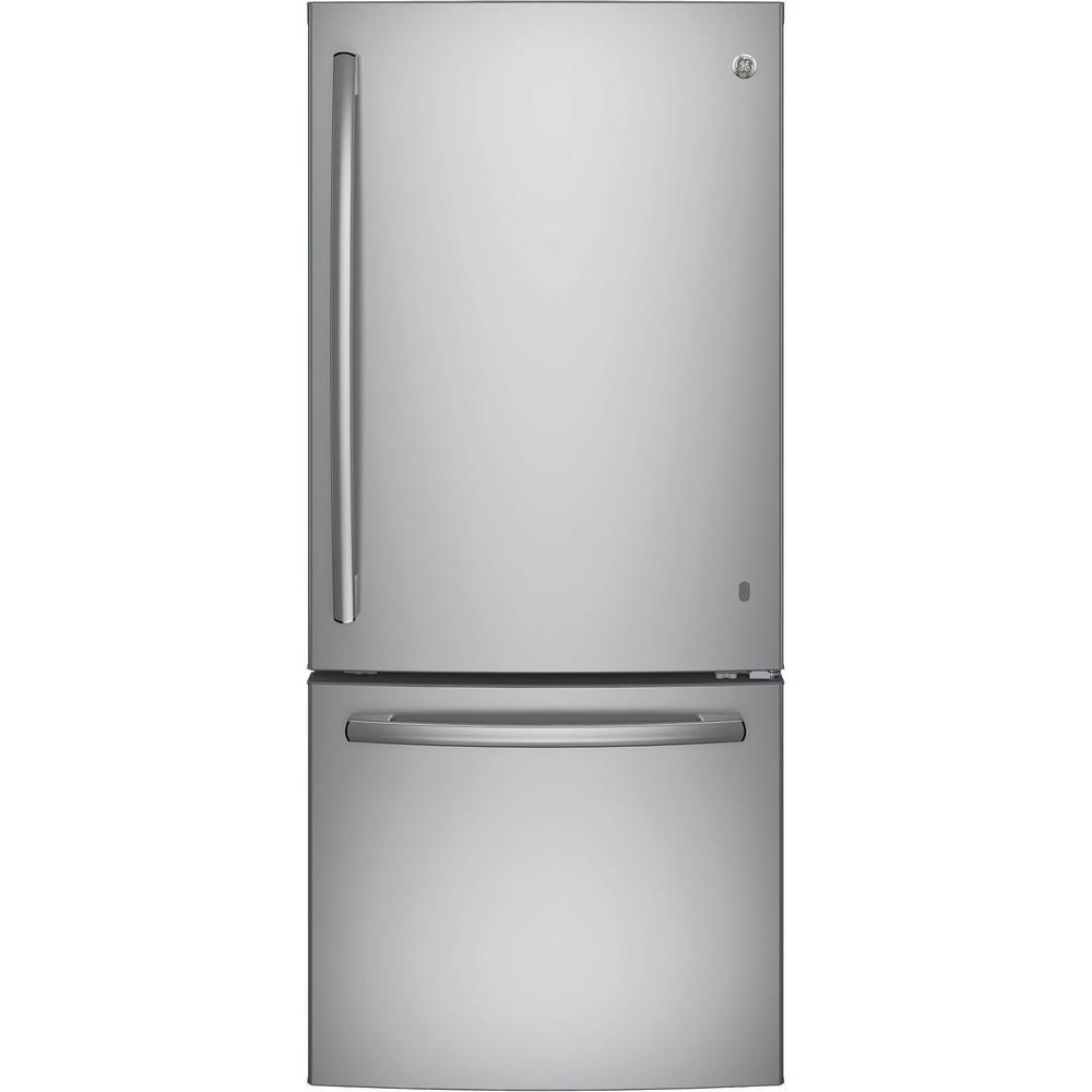 Ge 30 In W 20 9 Cu Ft Bottom Freezer Refrigerator In