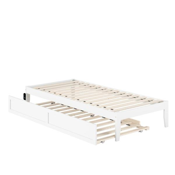 Colorado in White Twin Extra Long Bed with USB Turbo Charger and Twin Extra Long Trundle