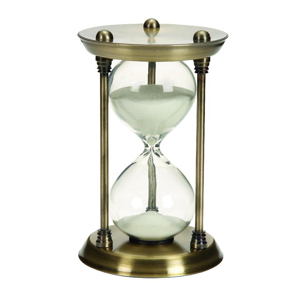 15-Minute Gold Metal Glass Quarter Hourglass