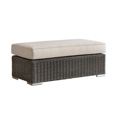 Camari Charcoal Wicker Outdoor Ottoman with Beige Cushion