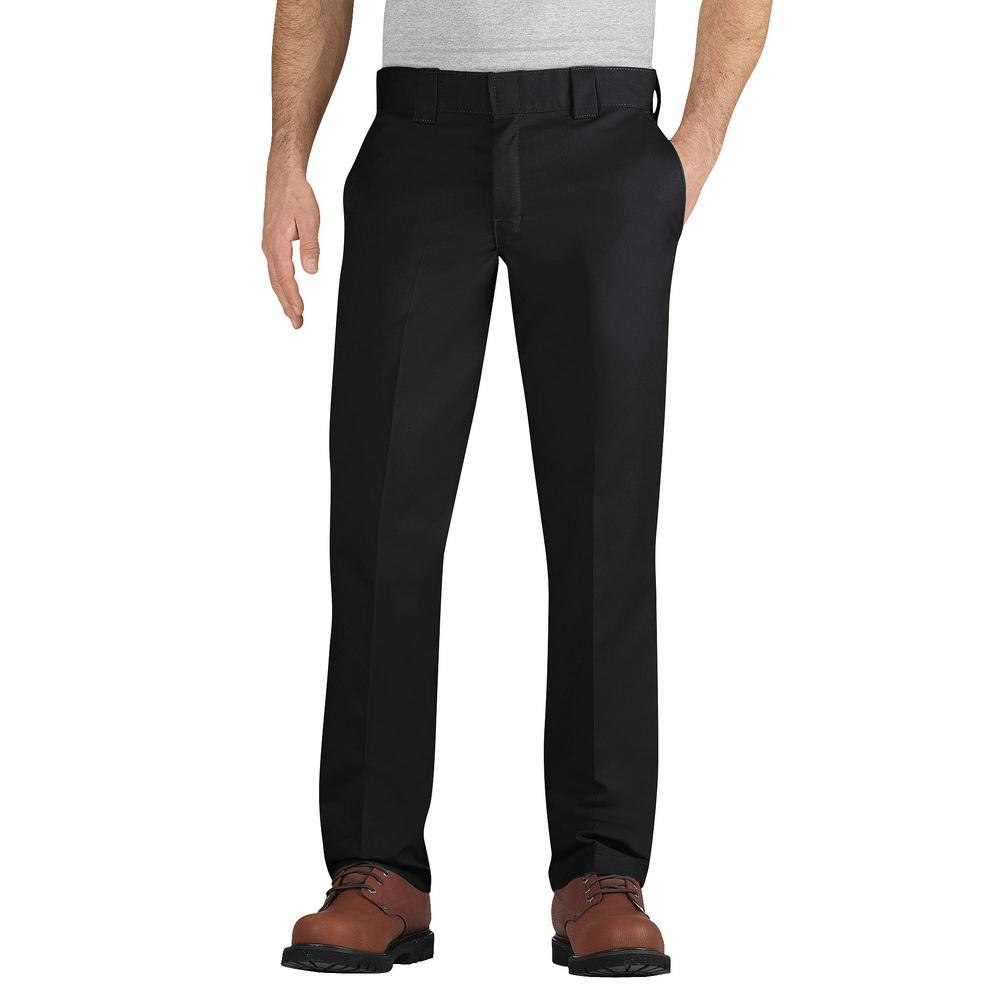 66c6e6ebf12e86 Dickies Men 30 in. x 32 in. Flex Slim Fit Black Taper Leg Multi-Use ...