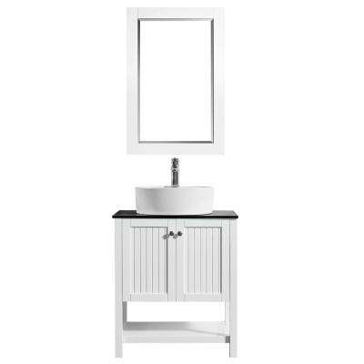 Modena 28 in. Bath Vanity in White with Tempered Glass Vanity Top in Black with White Vessel Sink and Mirror