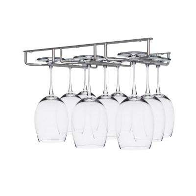 Silver Under Cabinet 9-Glasses Sectional Wine Glass Hanger