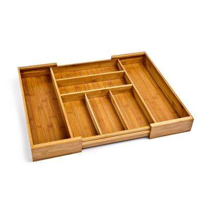 Bamboo Expandable 7 Compartment, 2 Adjustable, Flatware Utensil Cutlery Drawer Tray Organizer
