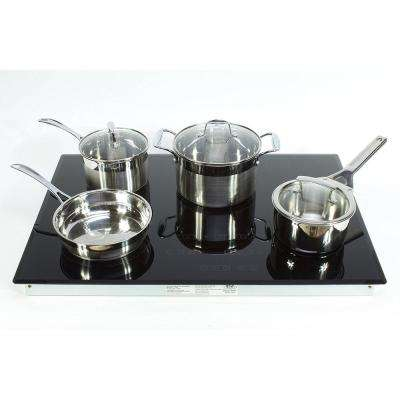30 in. Glass Induction Cooktop in Black with 4 Induction Elements Including Cookware