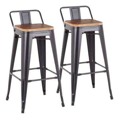 Oregon Black Metal and Natural Brown Wood Low Back Barstool (Set of 2)