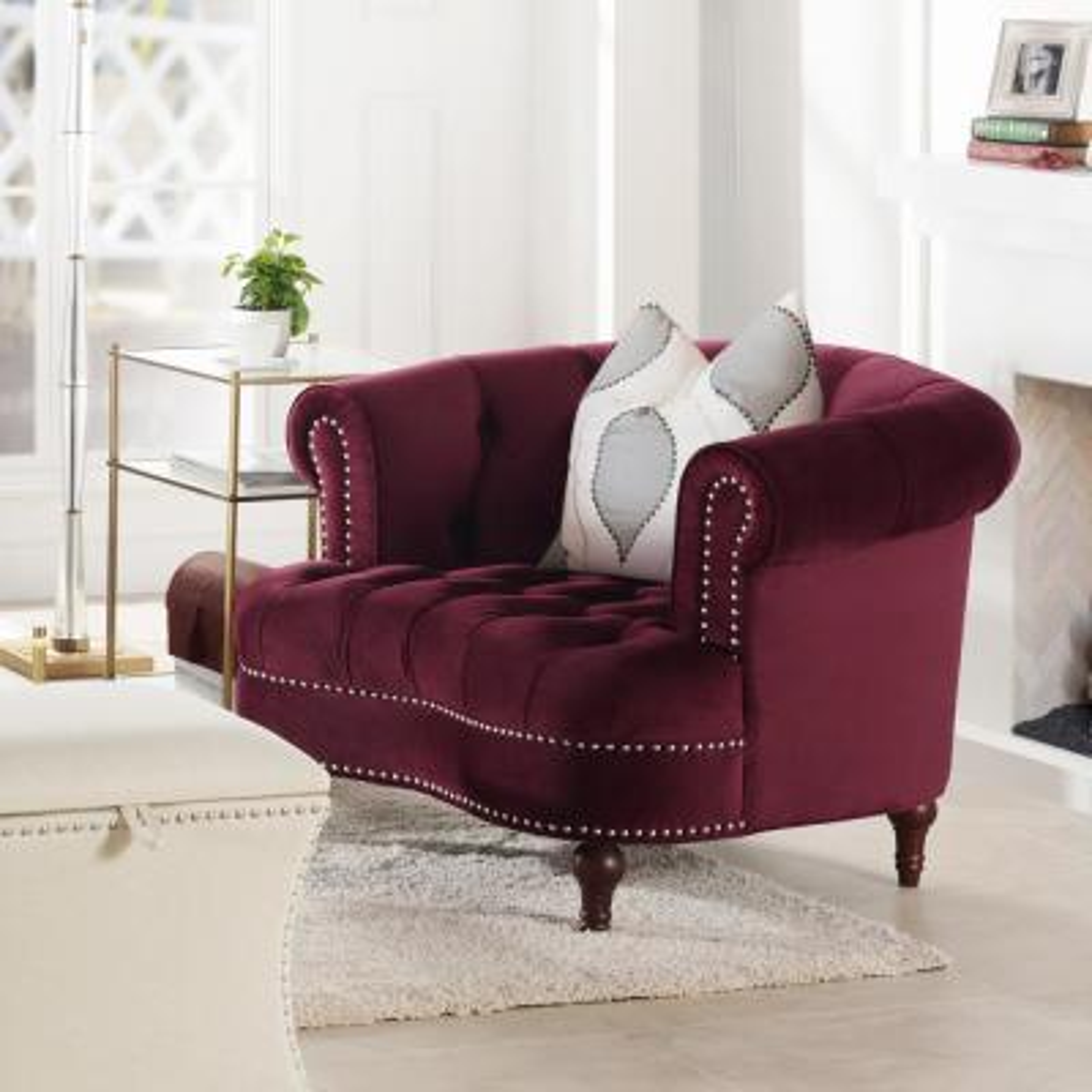 La Rosa Tufted Burgundy Accent Chair