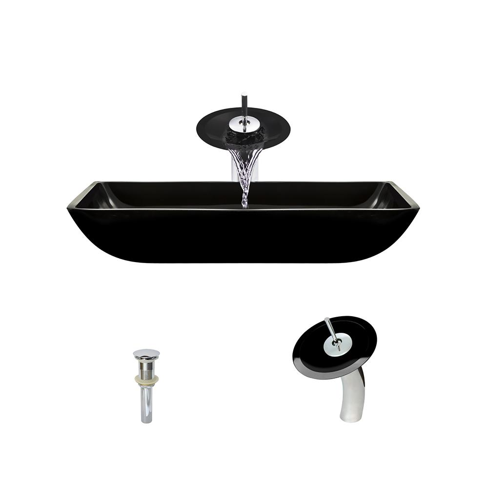 MR Direct Glass Vessel Sink in Black with Waterfall Faucet and Pop ...
