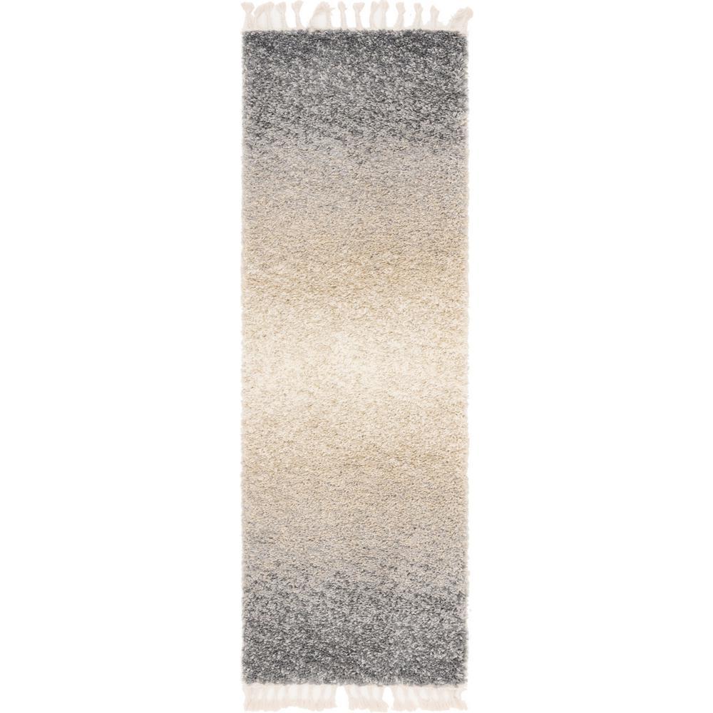 Hygge Shag Gradient Gray 2 ft. 2 in. x 6 ft. Runner Rug