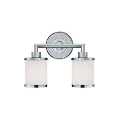 2-Light Chrome Vanity Light with Etched White Glass