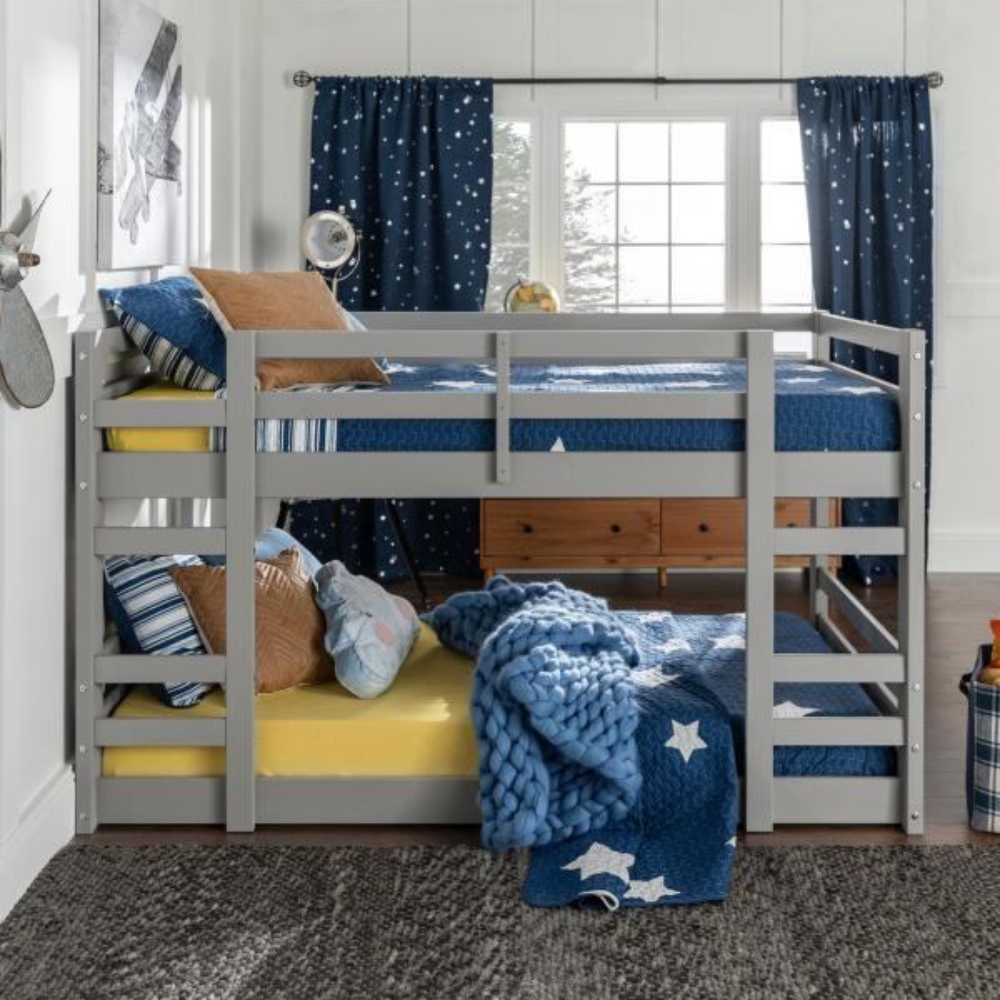 Walker Edison Furniture Company Low Wood Grey Twin Bunk Bed
